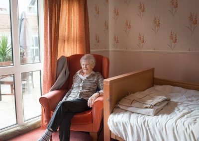 Bristol Care Homes Field House Horfield BS7 resident in bedroom